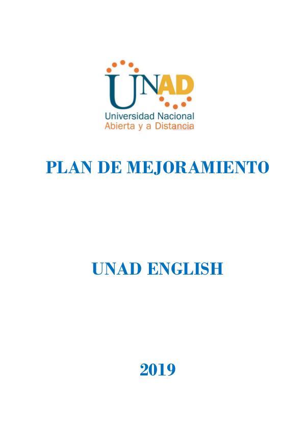 Plan de mejoramiento 2019 - UNAD ENGLISH PLAN DE MEJORAMIENTO unad english 2019