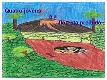 Sophia, Matheus e Pedro Vitor em Quatro jovens e a floresta proibida.