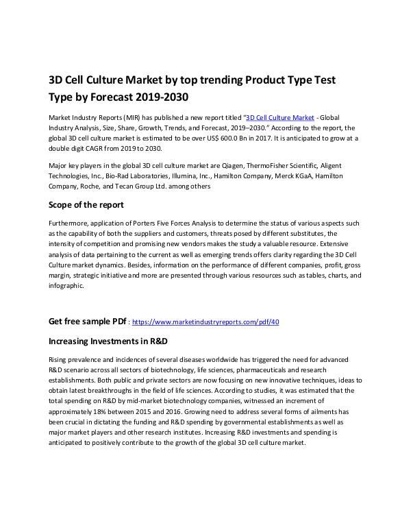 Healthcare 3D Cell Culture Market - Copy