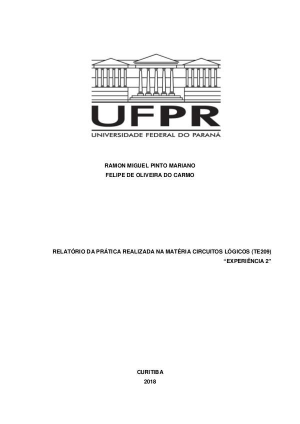 Circuitos lógicos (TE209), Curso de Engenharia Elétrica UFPR. Relatório 2.