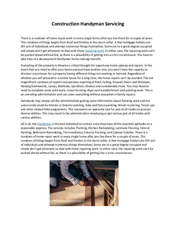 Construction Handyman Servicing Handyman