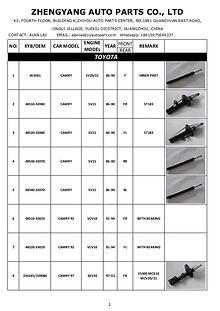 Shock absorber Catalog- Zheng Yang Auto Parts