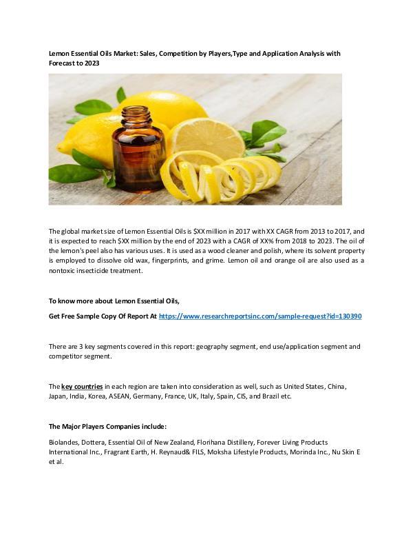 Lemon Essential Oils 2018 Global Lemon Essential Oils Industry Report –
