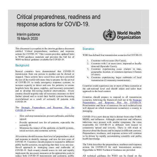 Coronavirus disease (COVID-19) technical guidance by WHO COVID-19: preparedness, readiness and actions