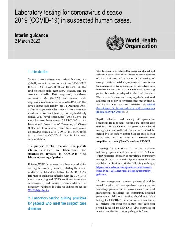 Coronavirus disease (COVID-19) technical guidance by WHO Laboratory testing for COVID-19