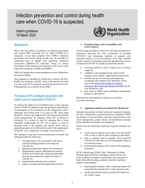 Coronavirus disease (COVID-19) technical guidance by WHO Infection prevention and control