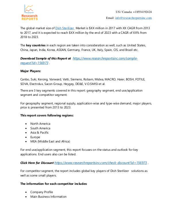 Dish Sterilizer Market - Research Reports Inc 2018 Global Dish Sterilizer market to Set Phenomen