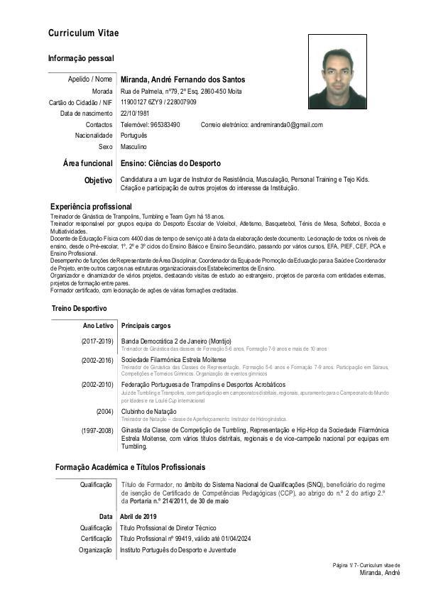 Curriculum Vitae com certificados FitTejo André Mi