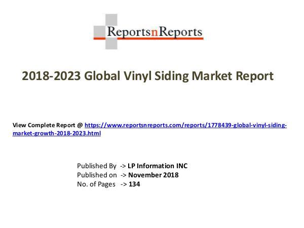 My first Magazine Global Vinyl Siding Market Growth 2018-2023