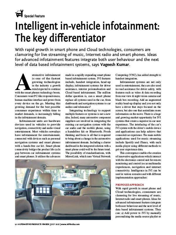 Intelligent in-vehicle infotainment The key differentiator Intelligent in-vehicle infotainment The key differ