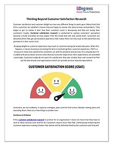 Thinking Beyond Customer Satisfaction Research