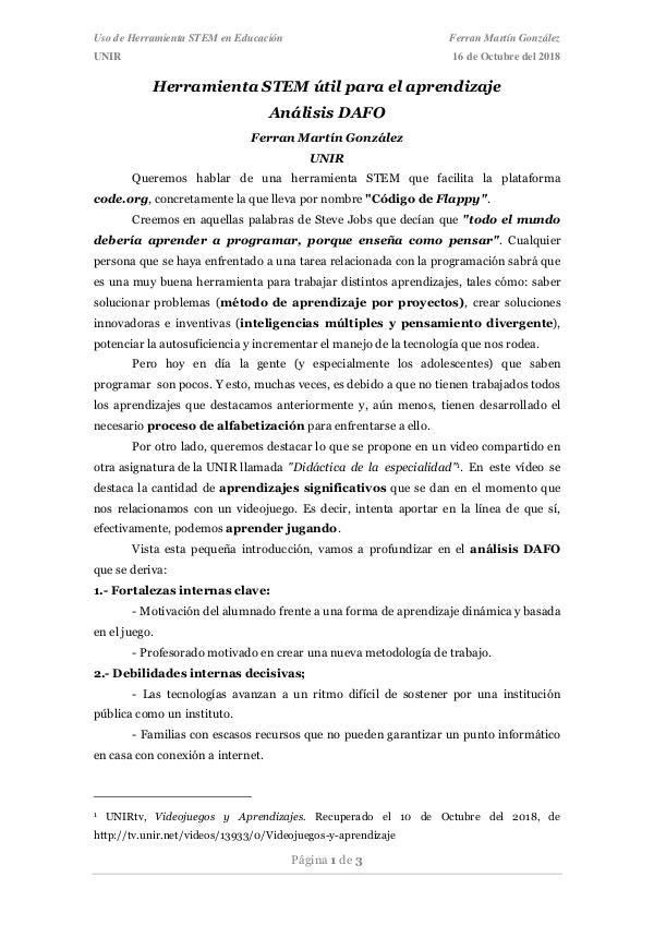UNIR - Fomento de Vocaciones STEM (Análisis DAFO) MartinGonzalez_Ferran_Actividad01
