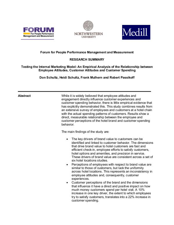 Forum for People Performance Management and Measurement - Hotel Study Forum for People Performance Management and Measur