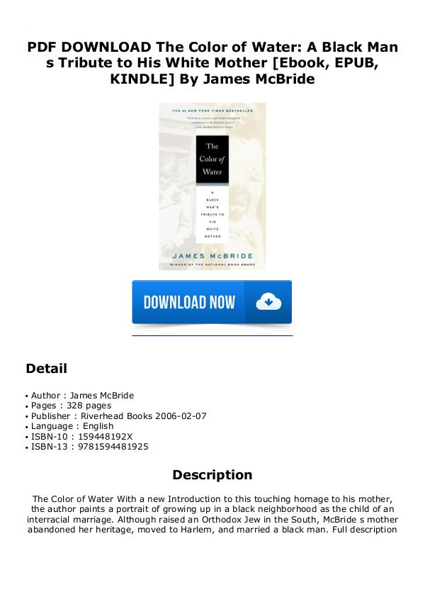 Epub download} the color of water a black man's tribute to his.