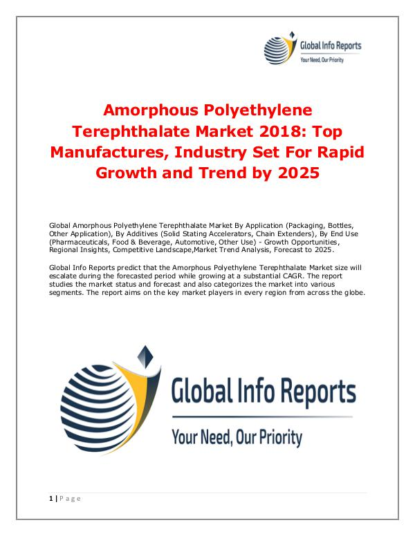 Amorphous Polyethylene Terephthalate Market 2018
