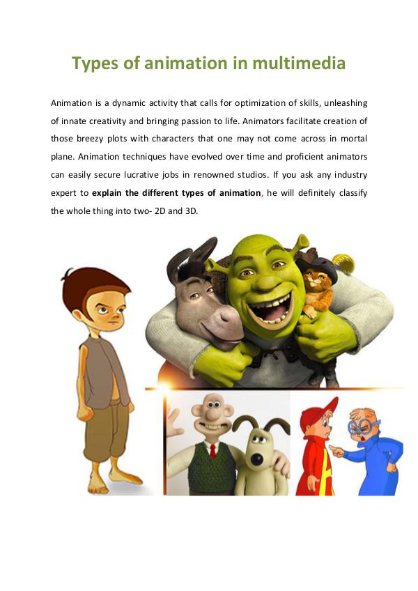 Types of animation in multimedia Types Of Animation