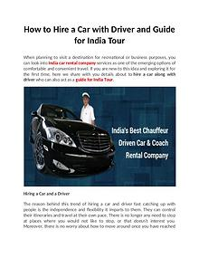 How to Hire a Car with Driver and Guide for India Tour