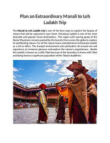 Plan an Extraordinary Manali to Leh Ladakh Trip