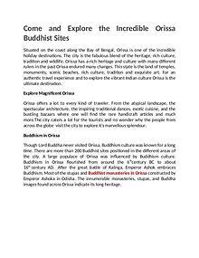 Explore the Incredible Orissa Buddhist Sites