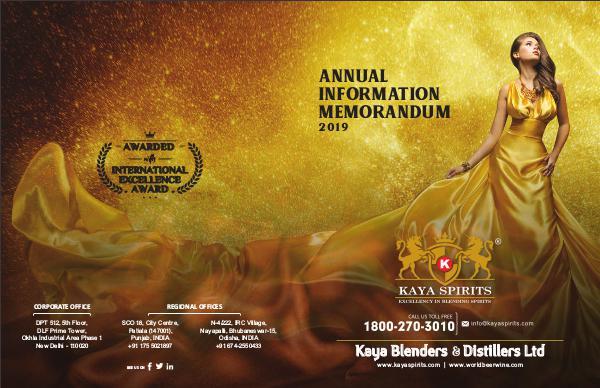 Kaya Spirits - Best Distillers 2018 Kaya Spirits Annual Information Memorandum 2019