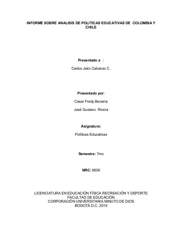 Nuestra Profesión docente en Colombia Informe analisis politicas educativas colombia - c