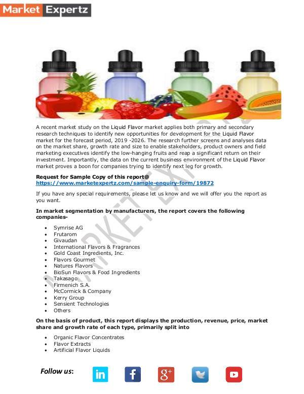 Global Liquid Flavor Market Insights, Forecast to 2026 Liquid Flavor