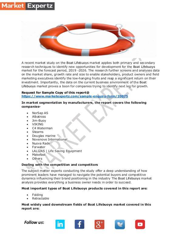 Global Boat Lifebuoys  Market Outlook 2019-2026 Boat Lifebuoys