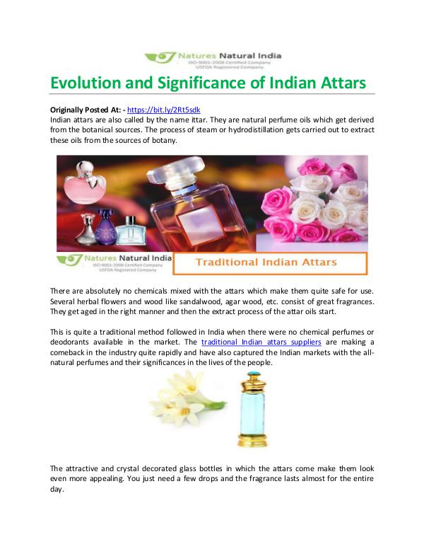 Evolution and Significance of Indian Attars