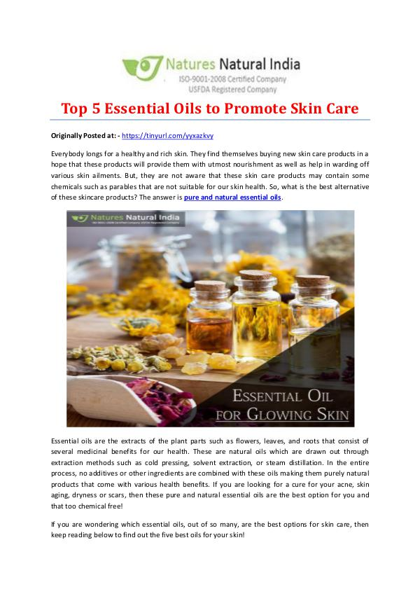 Top 5 Essential Oils to Promote Skin Care
