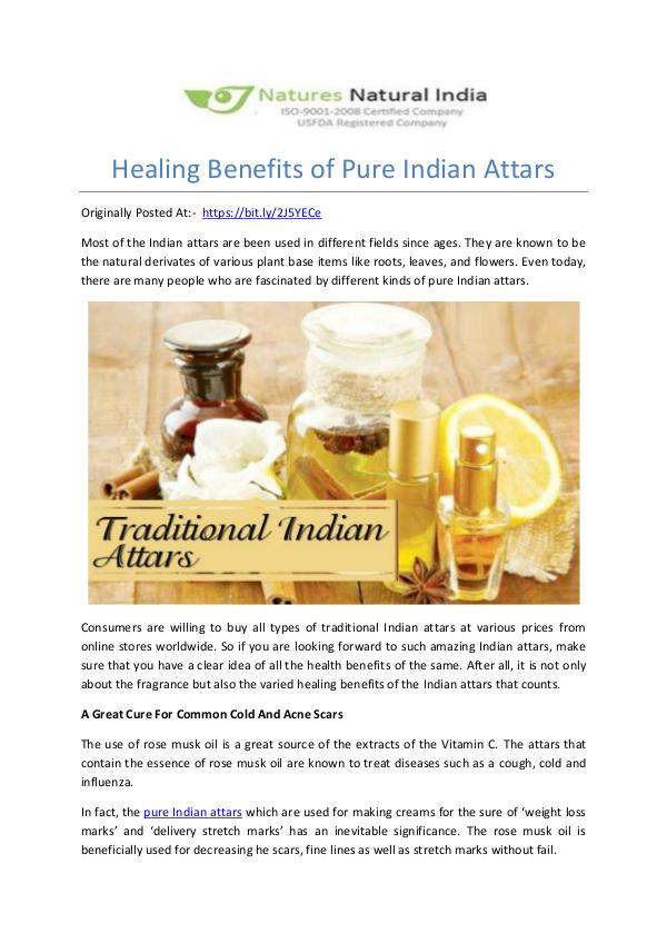 Healing Benefits of Pure Indian Attars