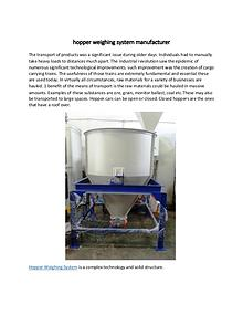 hopper weighing system manufacturer