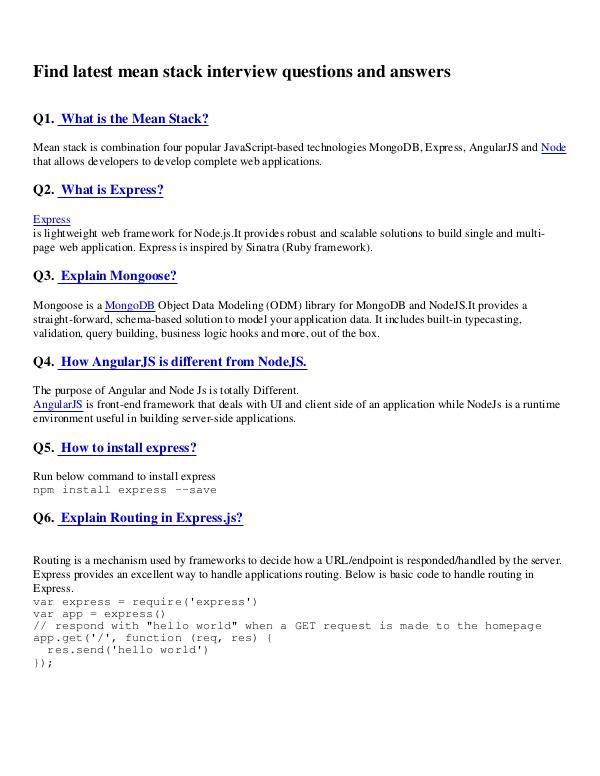 Go Programming Language Interview Questions Pdf Mean Stack Interview