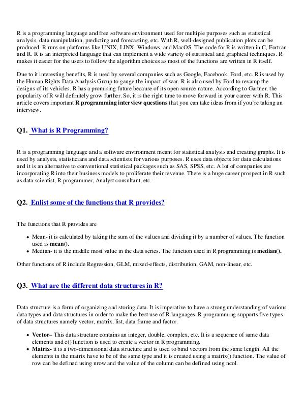 Go Programming Language Interview Questions Pdf R Programming