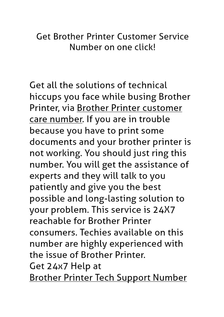 Brother Printer Customer Care Number Brother Printer Technical Support