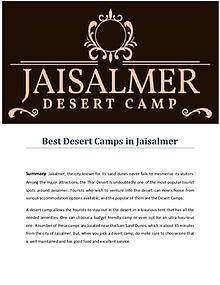 Best Desert Camps in Jaisalmer