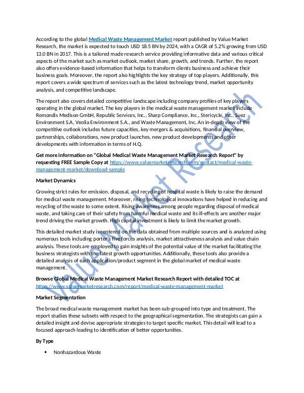 Medical Waste Management Market Report Till 2025