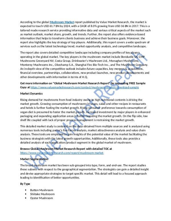 World Industries Mushroom Market Analysis Report to 2025