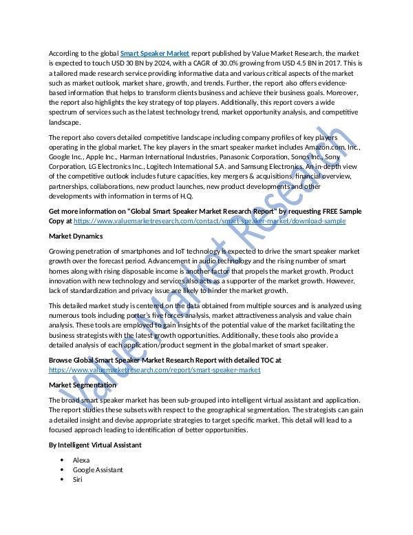 Smart Speaker Market Research Report, 2025