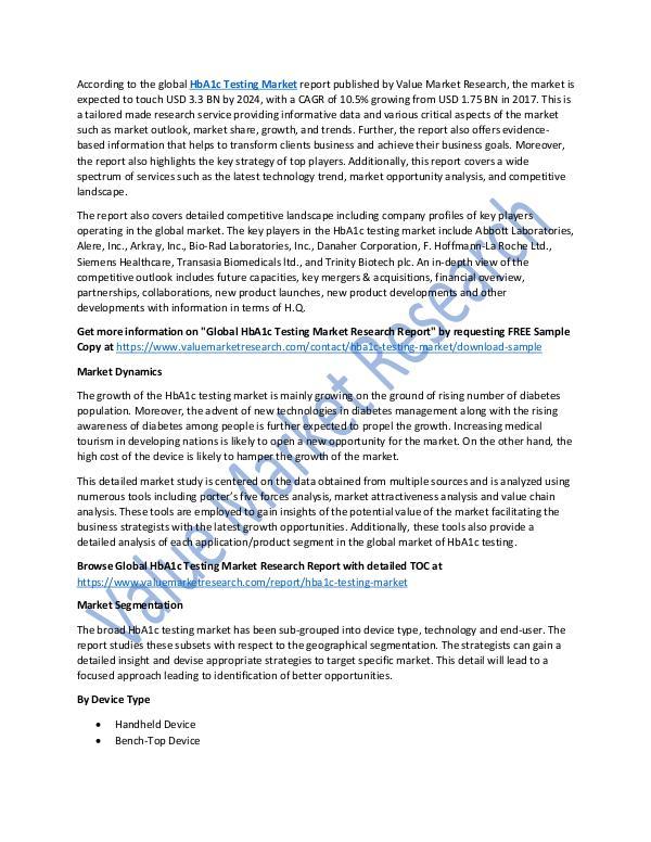 HbA1c Testing Market Analysis Report 2018-2025