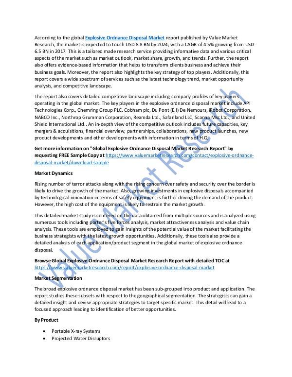 Explosive Ordnance Disposal Market Report to 2025