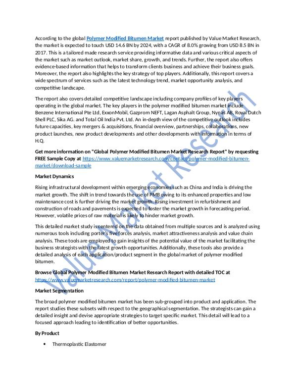 Polymer Modified Bitumen Market Report Till 2025
