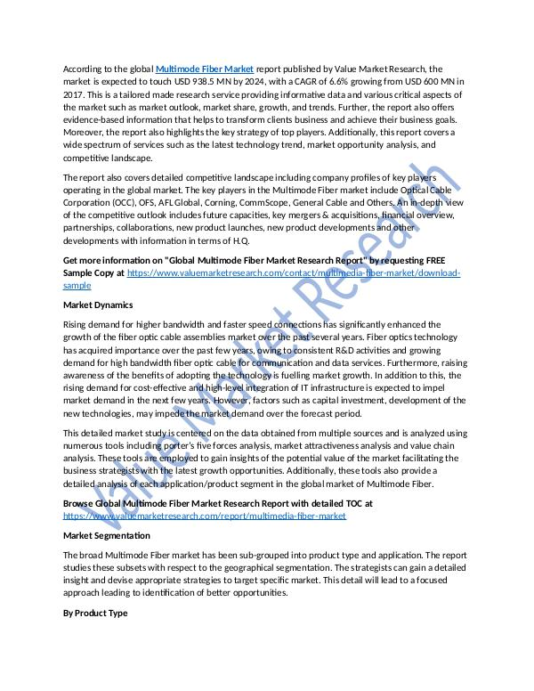 Multimode Fiber Market Analysis Report 2018-2025