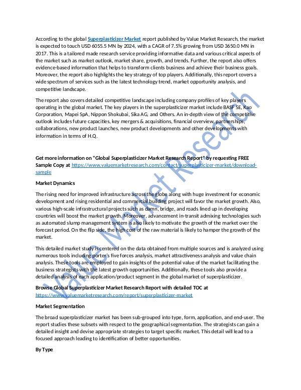 Superplasticizer Market 2018-2025 Research Report