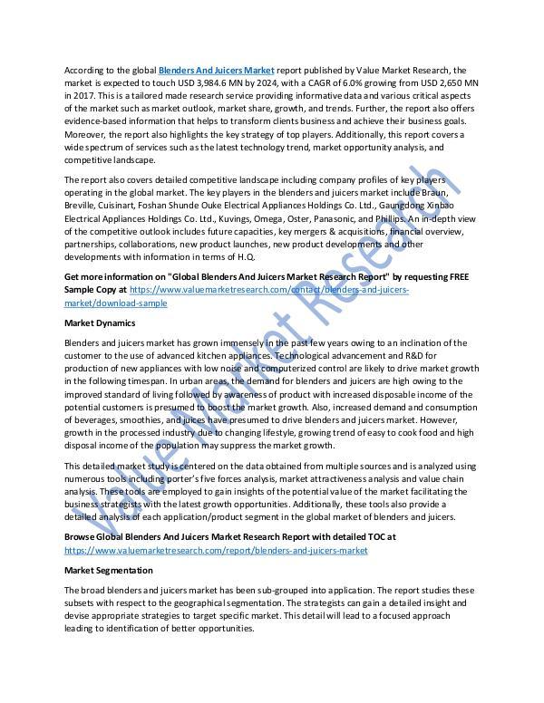 Blenders And Juicers Market Report, 2018-2025