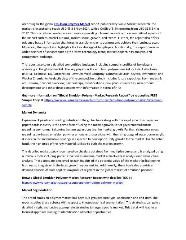 Emulsion Polymer Market 2018-2025 Analysis Report