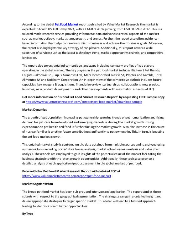 Pet Food Market 2018-2025 Research Report