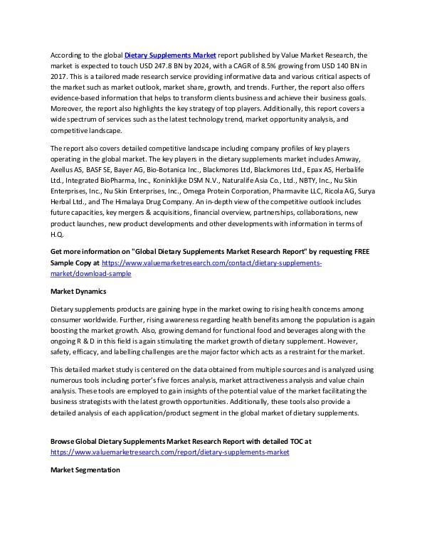 Dietary Supplements Market Report 2018-2025