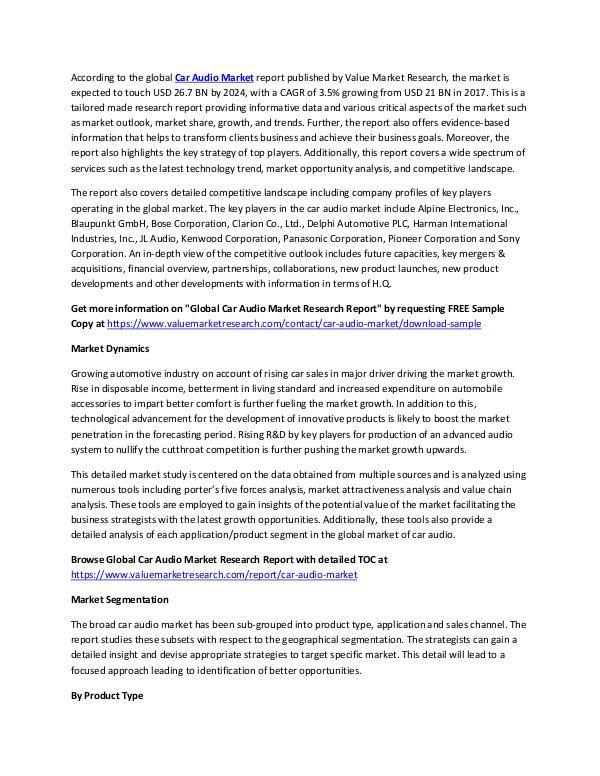 Car Audio Market 2018-2025 Research Report