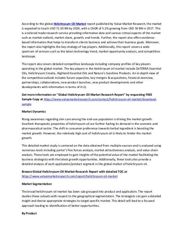 Helichrysum Oil Market 2018-2025 Analysis Report