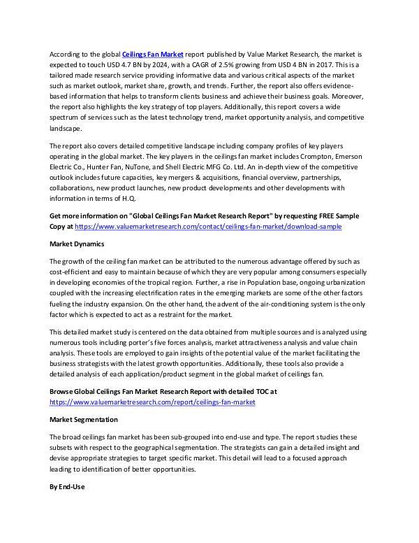Ceilings Fan Market Report 2018-2025